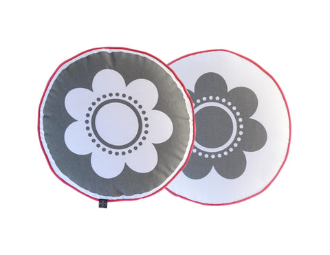 Flower Cushion - Grey with Pink