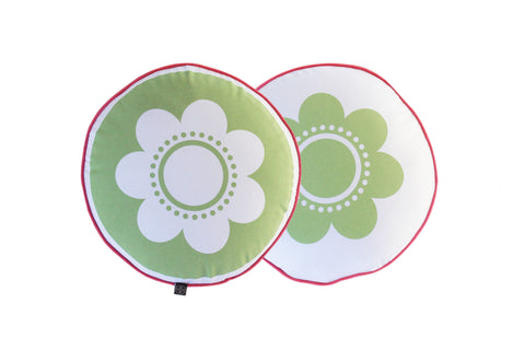 Flower Cushion - Green with Pink