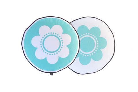 Flower Cushion - Turquoise with Grey