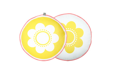 Flower Cushion - Yellow with Pink