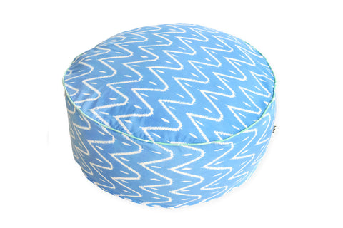 DUDUK Large Round Pouf - Blue Zigzag with Mint Green Trim