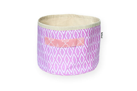DUDUK Round Basket: Pink Clouds with Salmon Handle