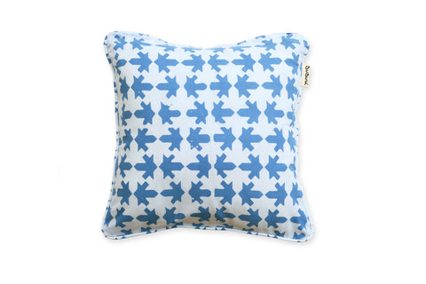 Small Square Pillow: Blue Arrows