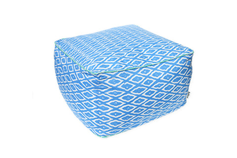 DUDUK Square Pouf - Blue Clouds with Mint Green Trim