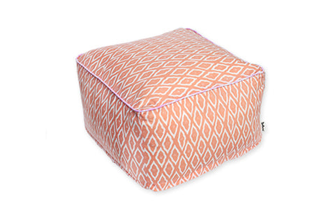 DUDUK Square Pouf - Salmon Clouds with Pink Trim