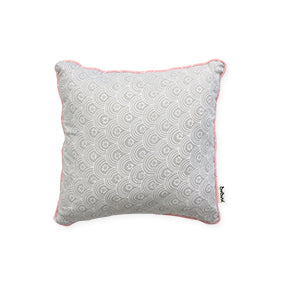 Small Square Pillow: Grey with Salmon Trim