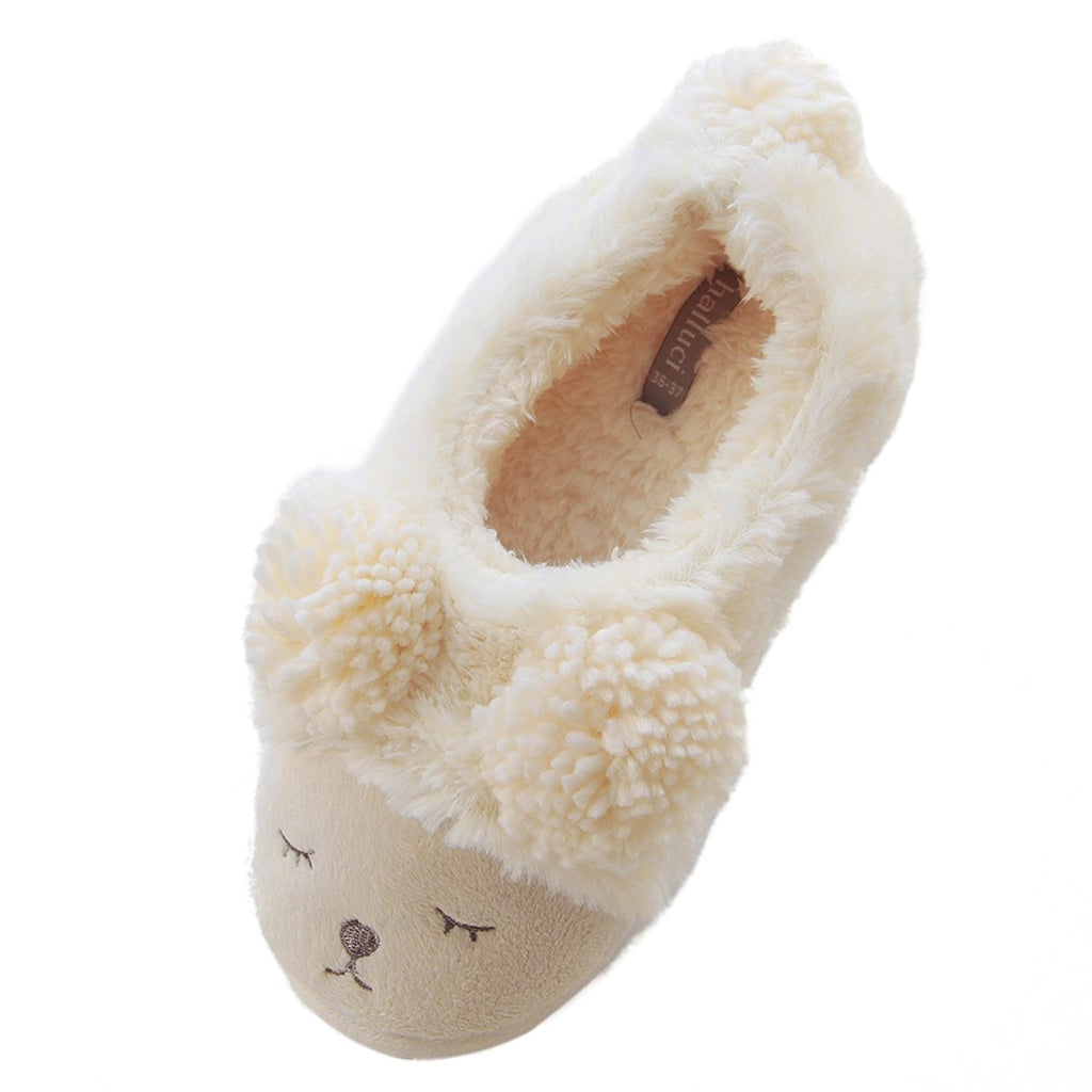 c02850b31 ... Sheep Bear Animal Slippers | Cute Fuzzy Home Plush Slippers | Cozy Fun  Plush Indoor Shoe ...