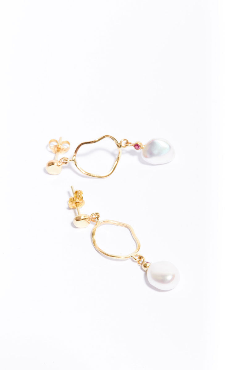 Gold Pearl Crush Earrings