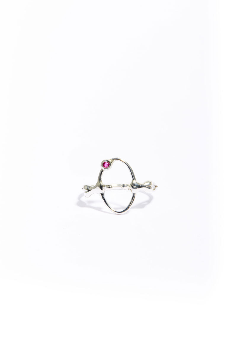Silver Ruby Mooner Eclipse Ring