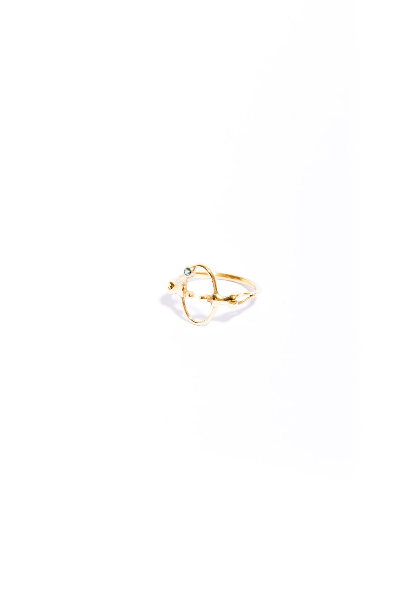 Gold Tourmaline Mooner Eclipse Ring