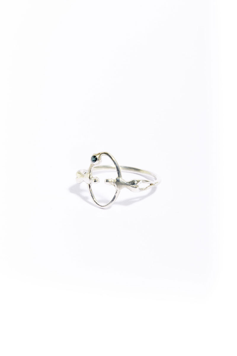 Silver Tourmaline Mooner Eclipse Ring