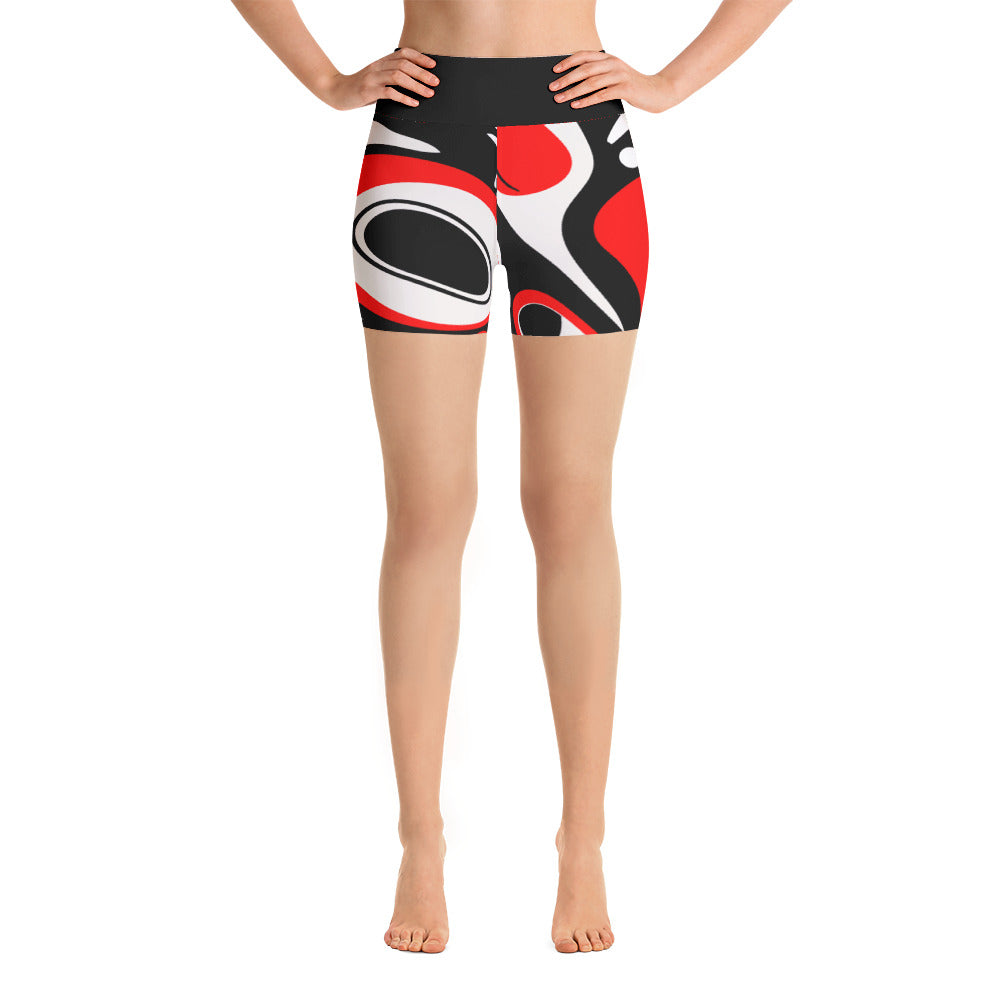 Go West High Rise Yoga Shorts- Red