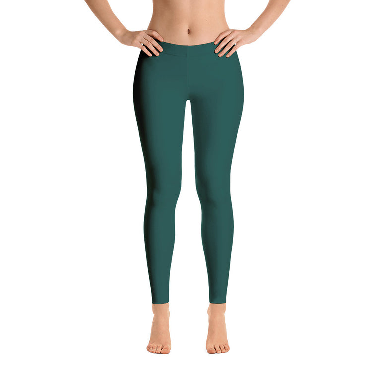 Sea Green Mid Rise Yoga Leggings