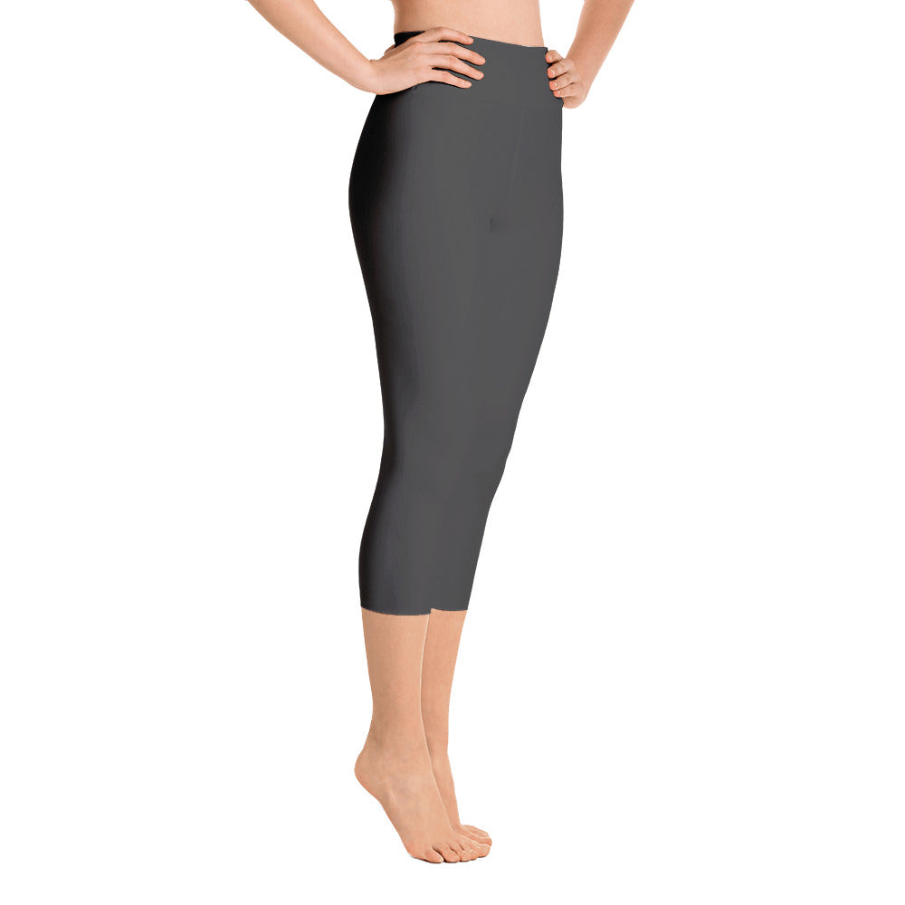 Deep Grey High Rise Capri Leggings