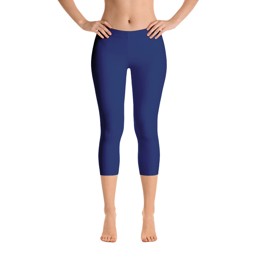 Navy Mid Rise Capri Leggings