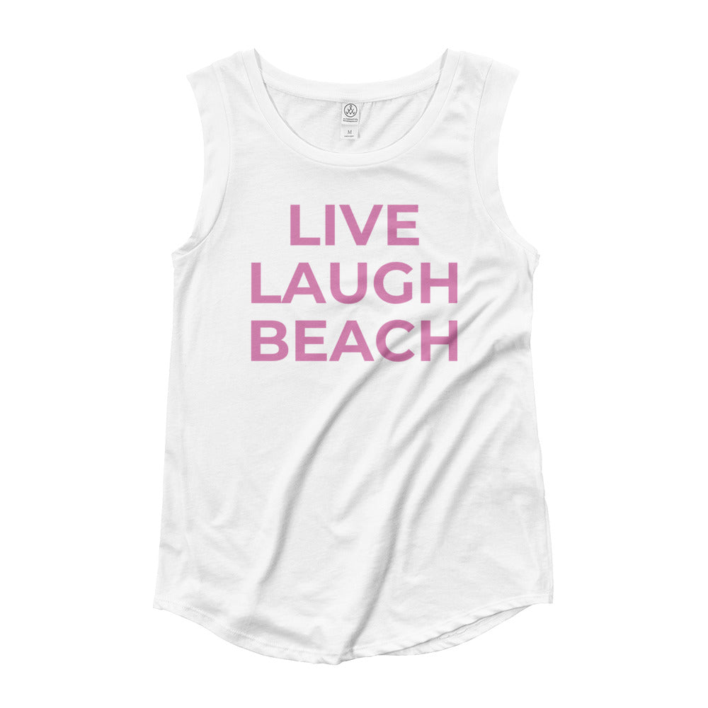 LIVE LAUGH BEACH Ladies' Cap Sleeve Tank