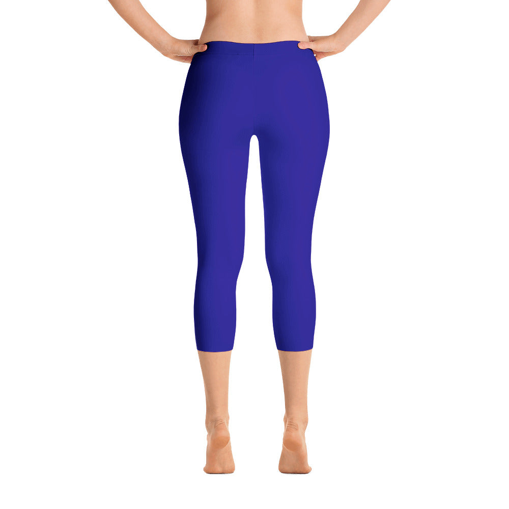 Royal Blue Mid Rise Capri Leggings