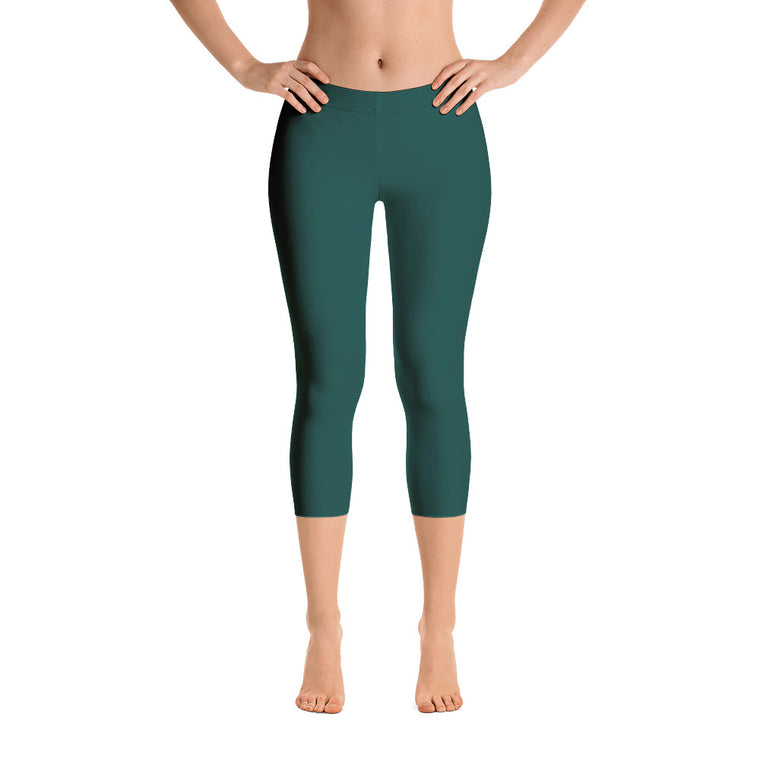 Sea Green Mid Rise Capri Leggings
