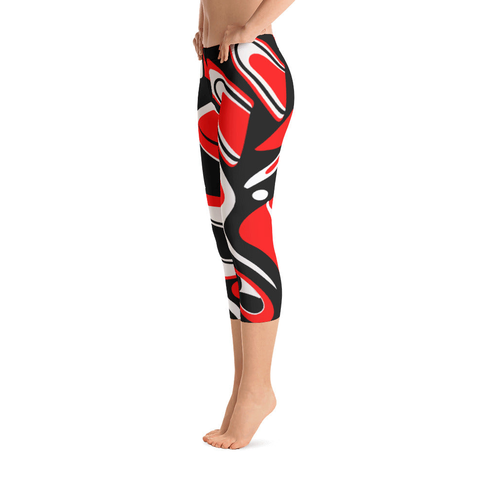 Go West Mid Rise Capri Leggings - red