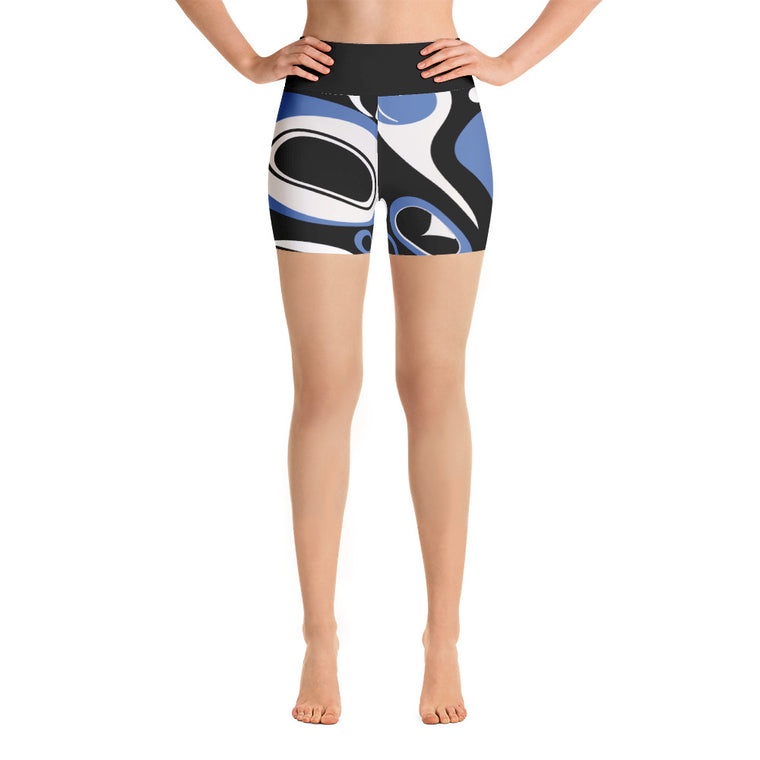 Go West High Rise Yoga Shorts - Blue