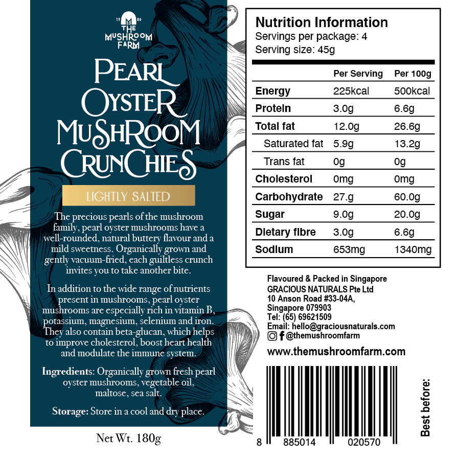 TMF Pearl Oyster Mushroom Crunchies - Lightly Salted (180g)