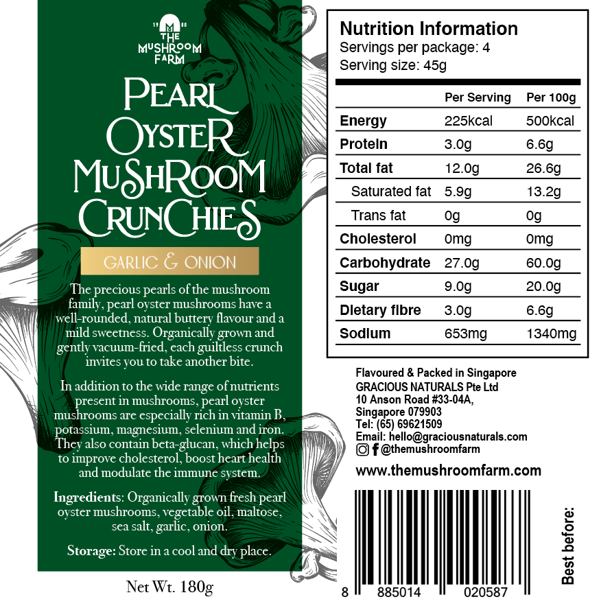TMF Pearl Oyster Mushroom Crunchies - Garlic & Onion (180g)