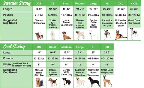 Chilly dog measuring chart for dog coats and dog sweaters