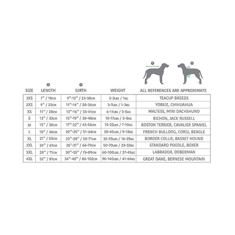 dog harness measuring chart