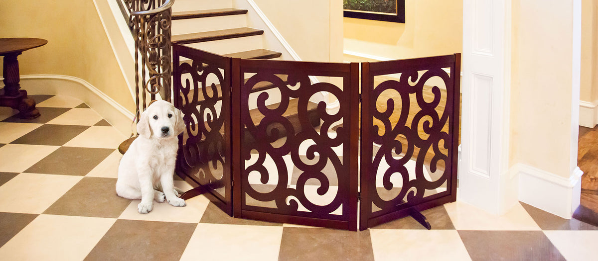 wood designer dog gate walnut color it has a gate you can enter and leave your pet on the other side