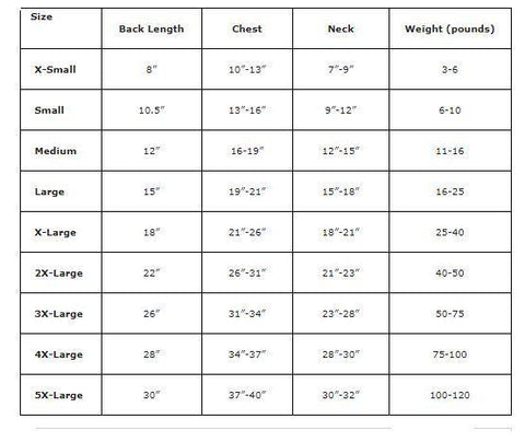 dog clothes measuring chart