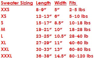 size chart for chilly dog sweater