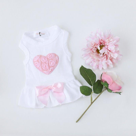 Dog Dress Pink Puff Heart