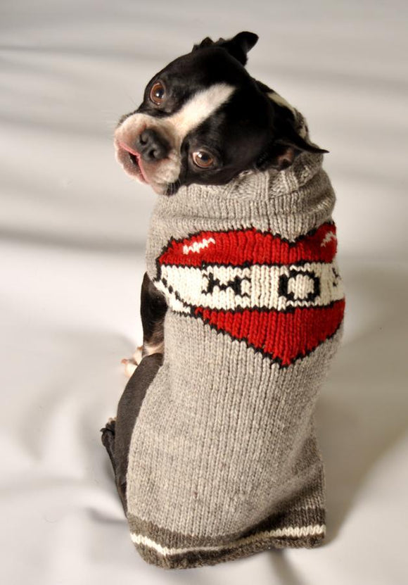 picture of heart with mom spelled out dog sweater