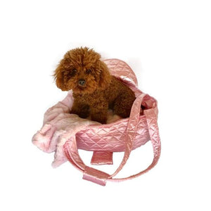 Carriers And Slings To Carry Your Dog Child With You. - Brit Quilted Carrier, Pink Satin Dog Carrier Tote