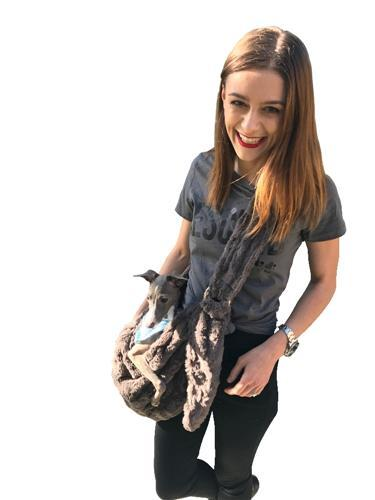 Carriers And Slings To Carry Your Dog Child With You. - Dog Carrier Adjustable Faux Fur Sling Bag Charcoal Featured By Dogparentsonline.com