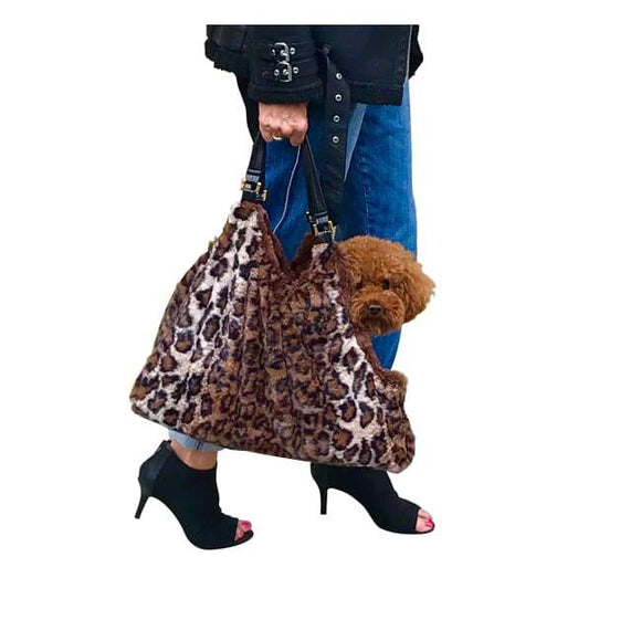 Carriers And Slings To Carry Your Dog Child With You. - Hollywood Tote, Brown Leopard