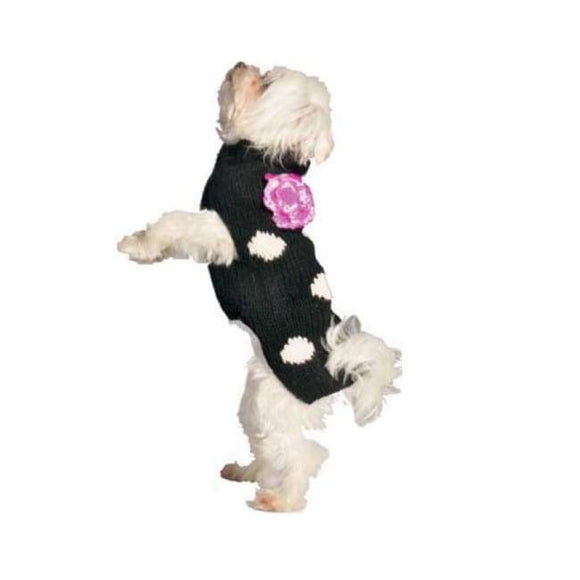 Clothes - Chilly Dog Sweater Black Polka Dot Pink Flower Dog Sweater | Dog Parents Online