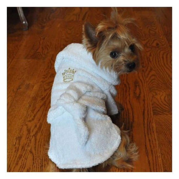 Clothes - Dog Bathrobe White Gold Crown Cotton Dog Bathrobe