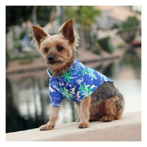 Clothes - Hawaiian Camp Shirt Ocean Blue And Palms