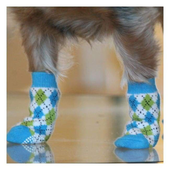 Clothes - Socks For Dogs Non Skid Dog Socks Blue And Green Argyle