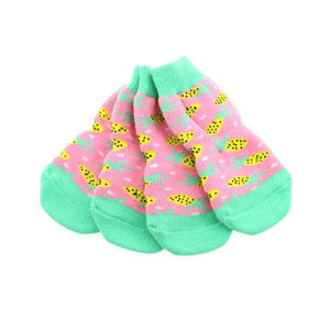 Clothes - Socks For Dogs Non Skid Dog Socks Pink Pineapple