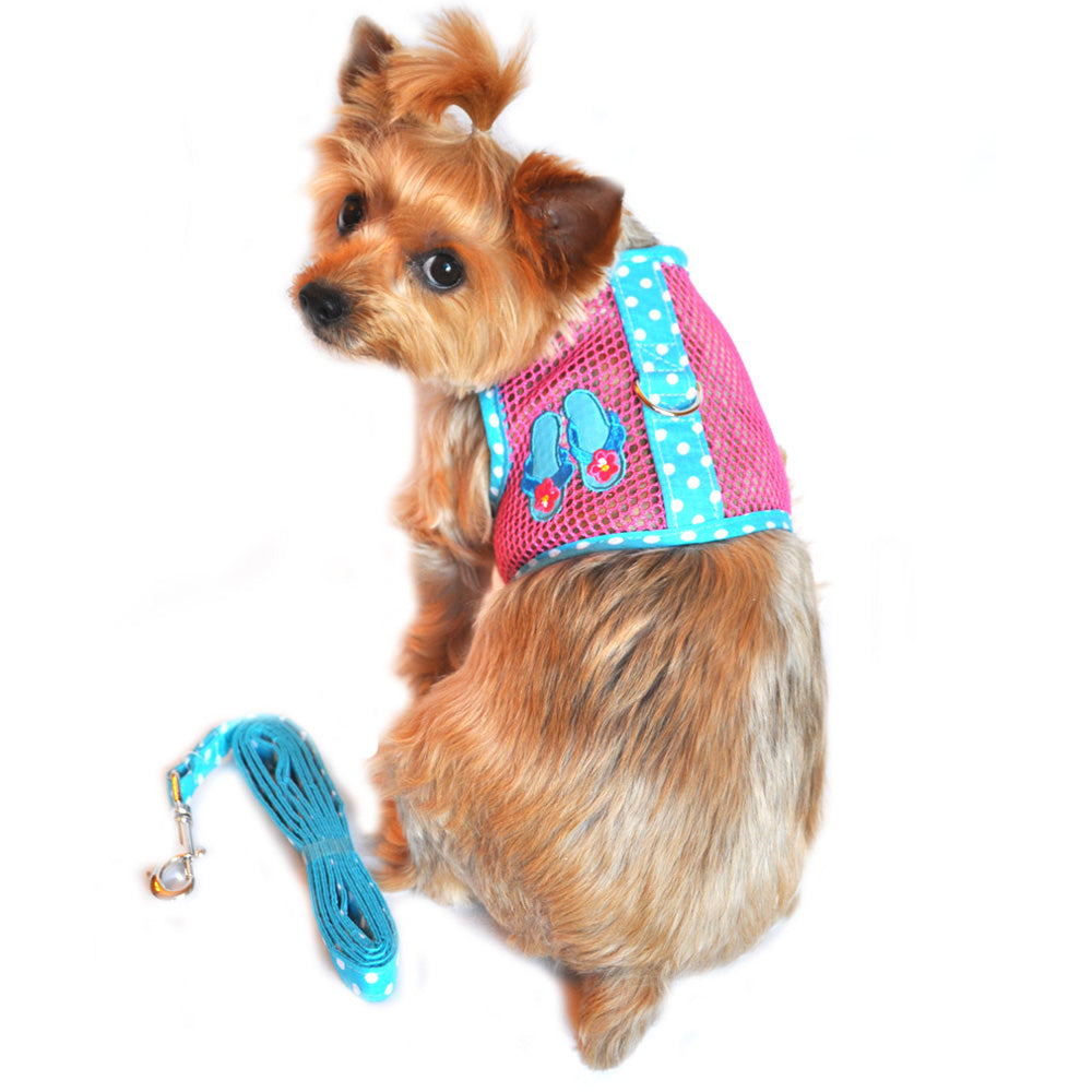 Doggie design American river harness cool mesh dog solid pink and blue flop dog harness Xs thru large