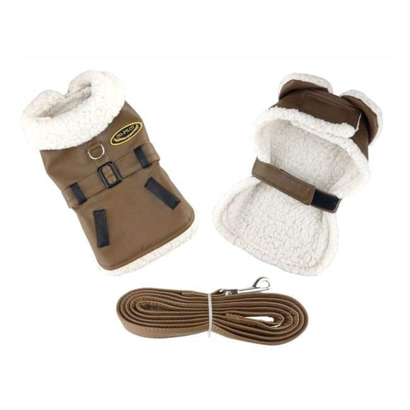 Dog Coats - Designer Dog Coat Brown And Black Faux Leather Bomber Dog Coat Harness And Leash