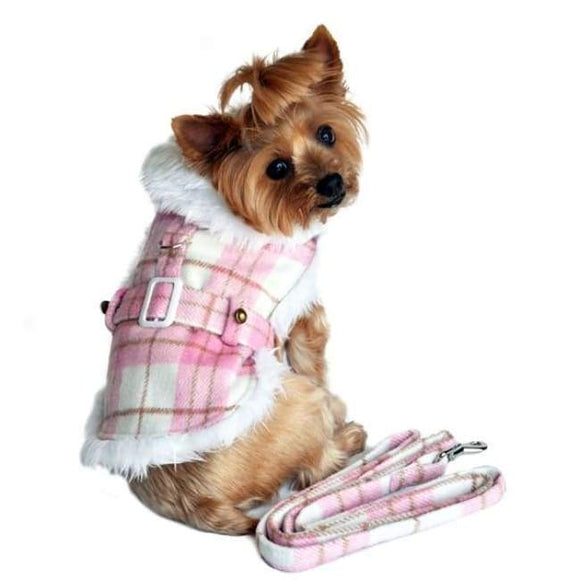 Dog Coats - Designer Dog Coat Plaid Fur Trimmed Dog Harness Coat Pink And White