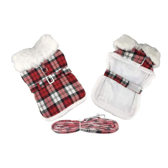Dog Coats - Designer Dog Coat Plaid Fur Trimmed Dog Harness Coat Red And White