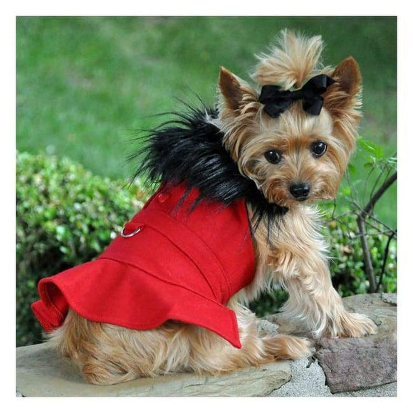 Dog Coats - Designer Dog Coat Wool Fur-Trimmed Dog Harness Coat - Red