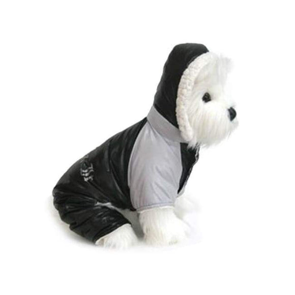 Dog Coats - Designer Dog Snow Suit Black And Grey Ruffin It Dog Snow Suit Harness