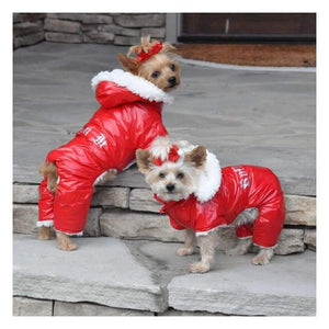 Dog Coats - Designer Dog Snowsuit Red Ruffin It Dog Snow Suit Harness