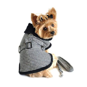 Dog Coats - Houndstooth Dog Coat And Matching Leash Fleece Dog Coat