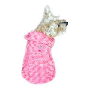 Dog Coats - Rosebud Faux Fur Dog Coat Coral